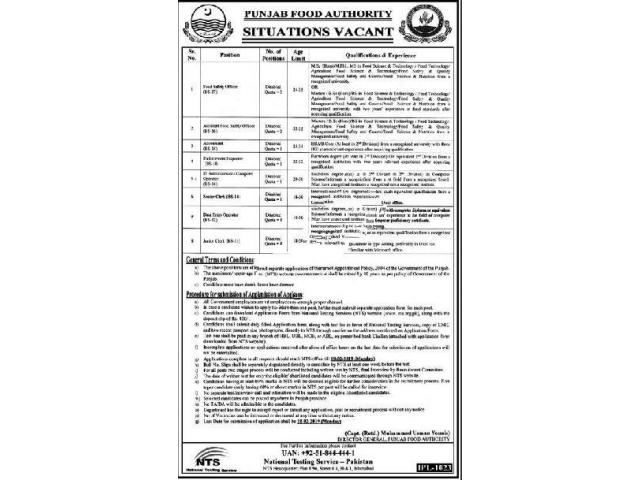 Punjab Food Authority Jobs 2019 in Lahore Via NTS Apply Now Lahore