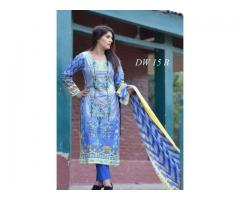 Ladies Unstitch Embroidered Designer Linen Suit