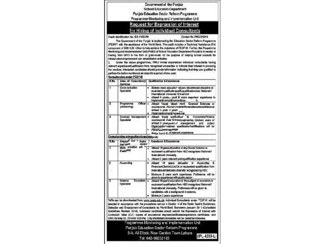 School Education Department Jobs 2019 in Lahore APPLY NOW Lahore