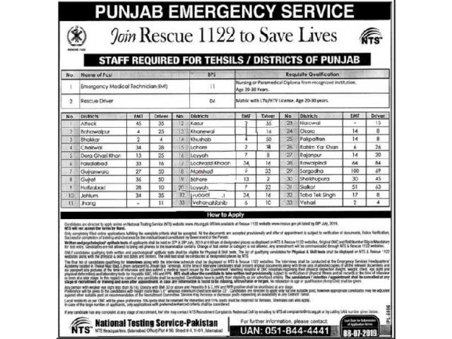 Join Rescue 1122 Punjab Emergency Service Jobs 2019 via NTS APPLY