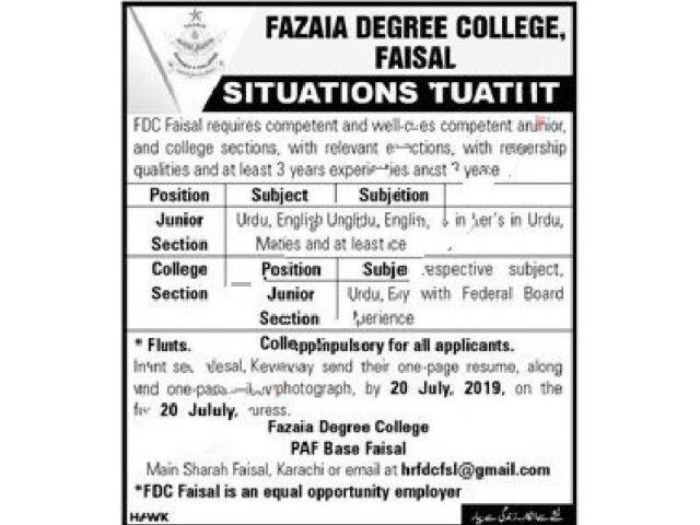 Fazaia Degree College Faisal Teaching Jobs 2019 APPLY NOW