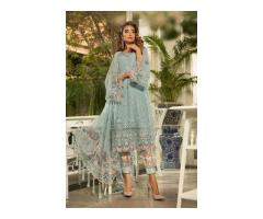 3 PC BAREEZE JAAL EMBROIDERED LAWN AJRAK SUITS WITH CHIFFON DUPATTA