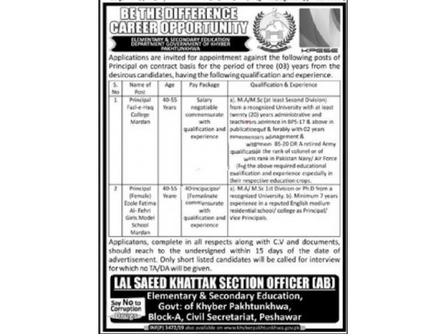 Elementary & Secondary Education Peshawar Jobs 2019 APPLY