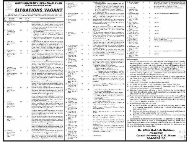 Administration Staff Jobs In Ghazi University DG Khan APPLY