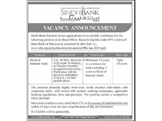 Sindh Bank Limited Jobs In Karachi 2019 Apply Now Karachi
