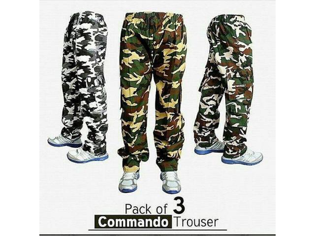 Pack of Three Commando Trousers for Sale in Pakistan