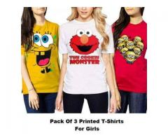 3 Printed Tshirts for Girls with Cash on Delivery