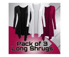 Pack Of Three Long Shrugs For Sale Only In 1499