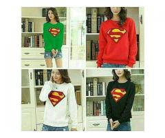 Superman Full Sleeves Tees For Girls in Different Colors For Sale