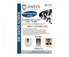 OASYS School Admission Open For Class 1 - O- Level Karachi