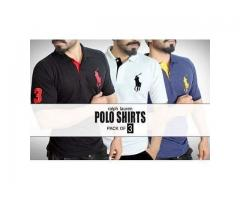 Sale Offer Of Polo Shirts , Pack Of 3 Shirts ,Delivery In All Pakistan