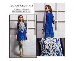 Embroidered Shiffon Suit Casual Pret 2016 Cobelt blue Net Shirt, Sale