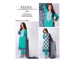 Original Baroq Lawn Suit With Printed Back and Duppeta For Sale