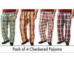 Pack of 4 Chekered Pajamas For Gents Get It Through Delivery