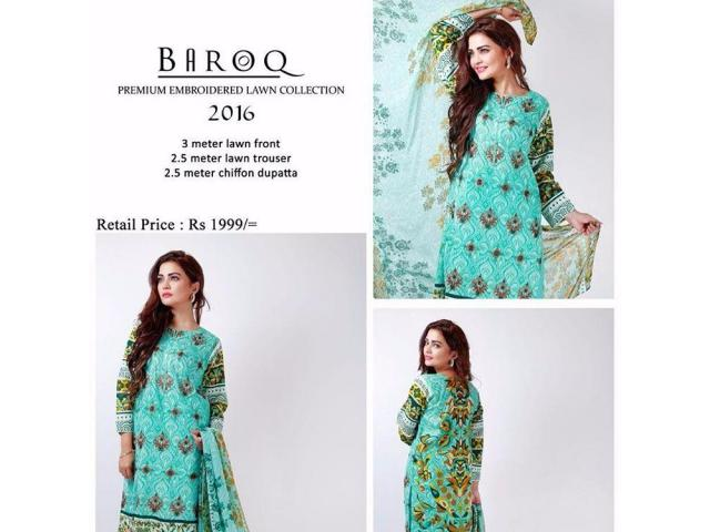 Premium Embroidered Baroq Lawn Collection 2016 Cash On Delivery