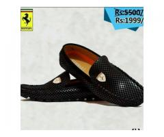 Discount Offer Of Ferrari Loafers Shoes Black Color, Cash on Delivery