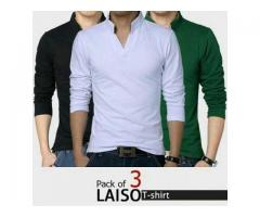 Pack of 3 Laiso T-shirts For Gents, Colors Available, Cash On Delivery