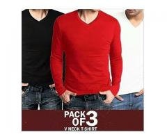 Spacial Offer Pack Of Three V neck T-shirts For Gents Cash On Delivery