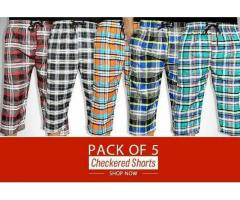 Pack Of Five Checkered Shorts Colors Available Delivery Available