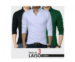 Pack Of Three Lasio Colar T-shirts For Gents Home Delivery Available