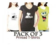 Pack Of 3 Printed T-shirts Colors Available For Sale Cash On Delivery
