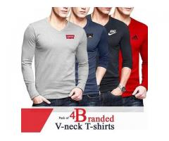 Discount Offer Pack Of 4 Branded V-neck T-shirts For Gents with Delivery