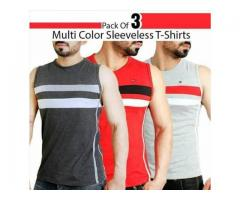 Pack Of Three Multi Color Sleeveless T-shirts Delivery Available