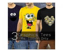 Pack Of Three Graphic Tees Half Sleeves For Gents Cash On Delivery