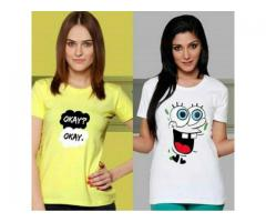Pack Of Two Printed T-shirts For Girls Colors Available Cash On Delivery