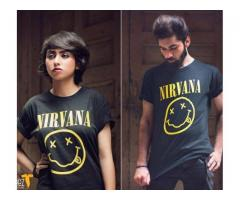 Nirvana T-shirts For Couple Half Sleeves For Sale Cash On Delivery