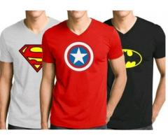 Pack Of Three V-Neck Printed With Logos T-shirts Cash On Delivery