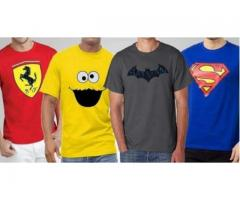 Pack Of 4 Graphic Combo T-shirts With Printed Logos For Sale
