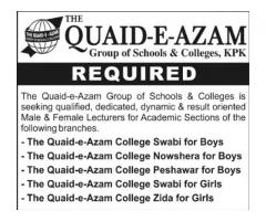 Lecturer Posts Available In The Quaid-e-Azam Group of Schools And Colleges