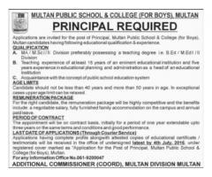 Multan Public School & College Required Principal Urgently