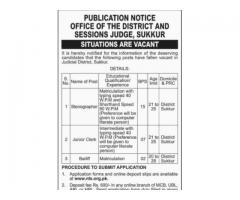 Stenographer & Junior Clerk Post Available In Judicial District, Sukkur