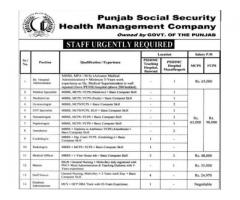 Punjab Social Security Health Management Company Latest Jobs 2016,Lhr