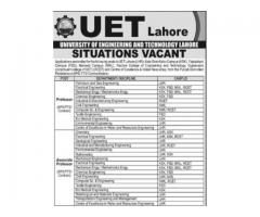 Situations Vacant University Of Engineering And Technology Lahore