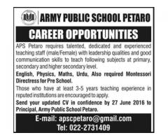 Latest Army Public School Petaro Jobs 2016 Teaching Staff Required