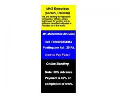 Classified Ads Posting Service in Karachi, Pakistan, Call 0322-2334352