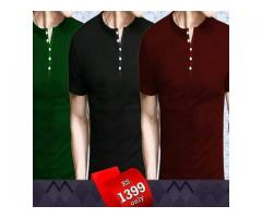 New Offer Pack Of Three Half Sleeves Designers T-shirts For Gents For Sale